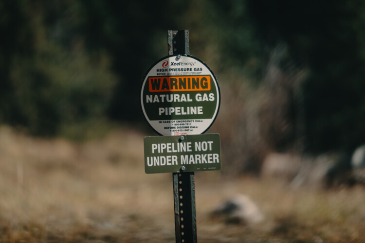 A sign for an Xcel Energy natural gas pipeline buried underground in Colorado, 2018. (Tony Webster/Flickr)