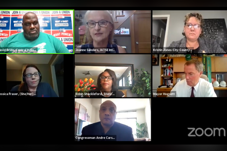 Labor leaders and elected officials in central Indiana talk at the virtual town hall. (Screenshoot of Zoom call)