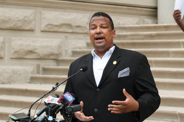 Rep. Earl Harris, Jr. (D-East Chicago) discusses the Indiana Black Legislative Caucus's justice reform agenda during a recent press conference. (Lauren Chapman/IPB News)