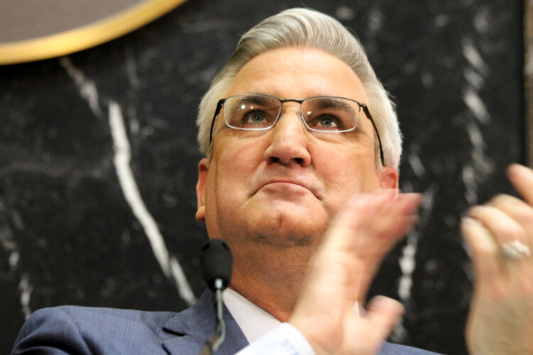 """Gov. Eric Holcomb says he wants to be a """"barrier buster"""" to help reduce racial inequality in the Hoosier State. (Lauren Chapman/IPB News)"""