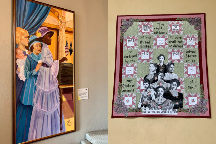 "The piece on the left is ""nINeteenth"" by Decatur, Indiana, artist Shelby Nower. On the right is ""Together"" by Indianapolis artist Kassie Woodworth. (Brandon Smith/IPB News)"