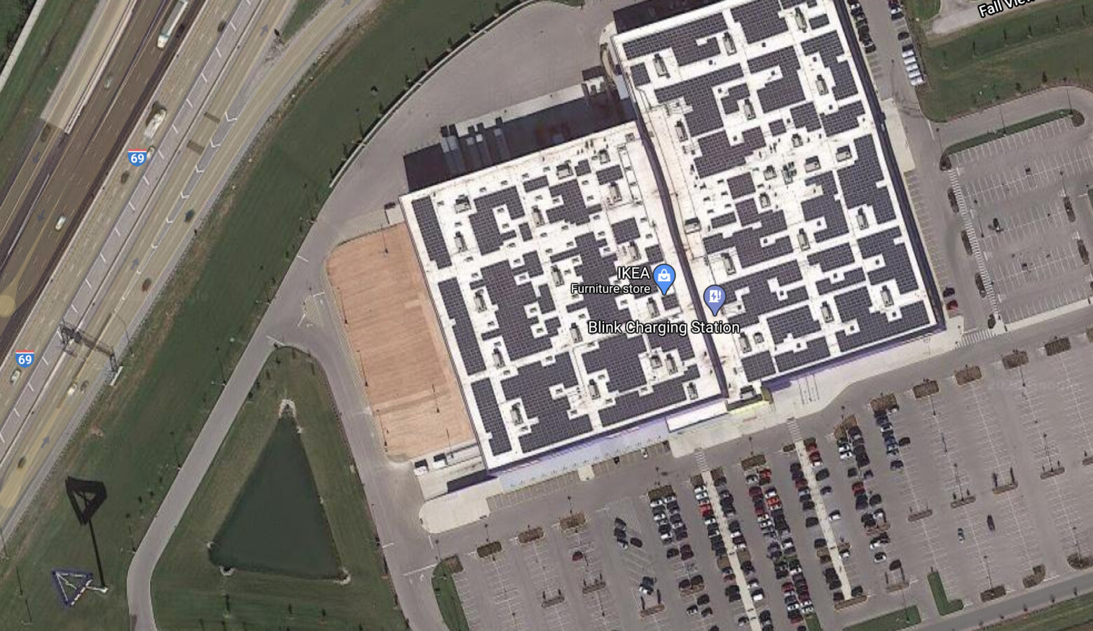 Solar panels on the roof of the IKEA furniture store in Fishers. Economic experts that spoke with the state's energy task force said more companies are looking to be located in states that can help them meet their sustainability goals. (Google Maps)