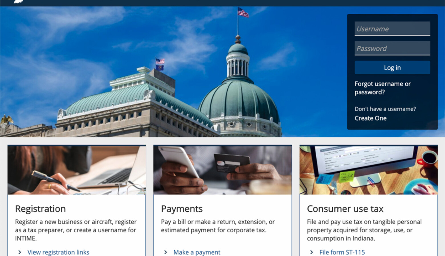 The availability of INTIME for business customers is phase two of a four-year overhaul of the Indiana Department of Revenue's technology. (Screenshot of INTIME.dor.in.gov)