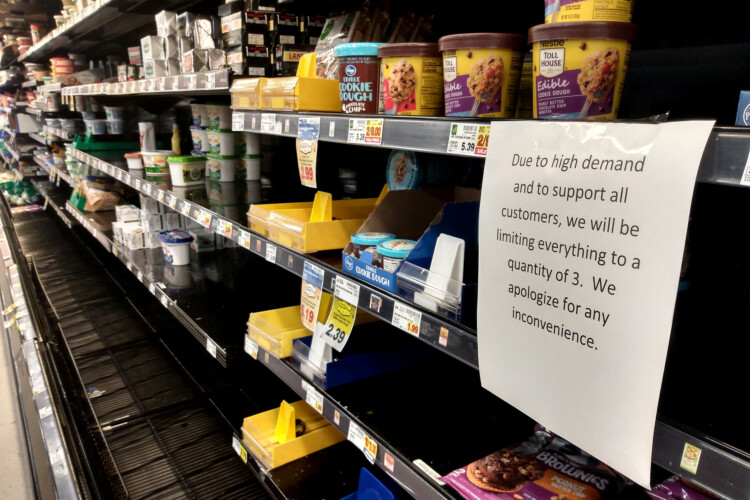 A number of grocery chains, including Kroger, are implementing restrictions on the number of products customers can purchase. (Lauren Chapman/IPB News)