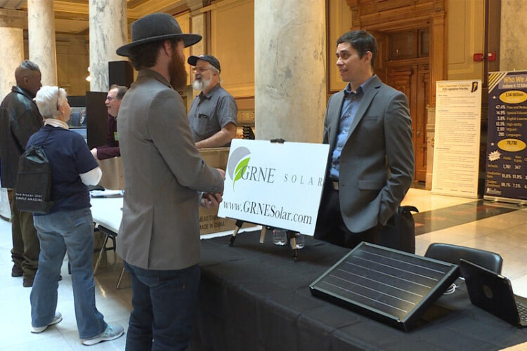 A booth at the at the 2020 Renewable Energy Day at the Indiana Statehouse in January. (Rebecca Thiele/IPB News)