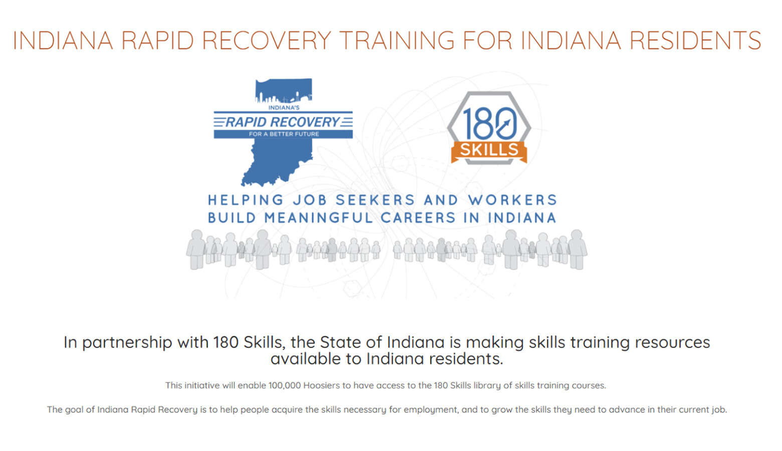 Indiana is making free job training available for up to 100,000 Hoosiers who had their work affected by the pandemic by Indianapolis-based company 180 Skills. (Screeshot 180skills.com/free-indiana-training)