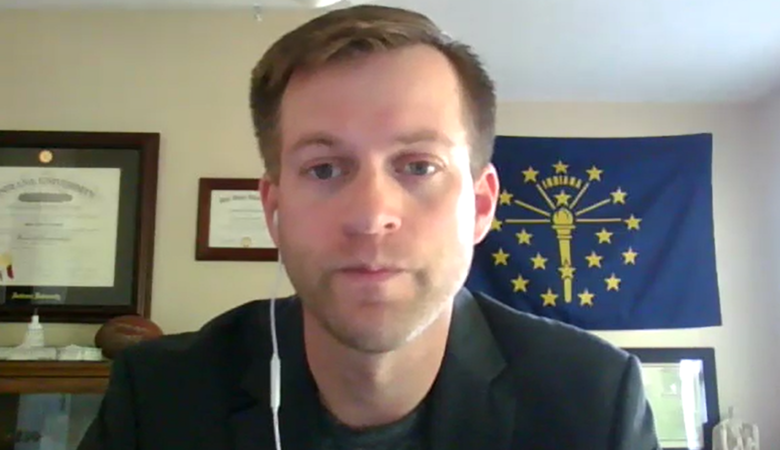 Josh Richardson, chief of staff for Indiana's Department of Workforce Development, on a Zoom call. (Screenshot Zoom call)
