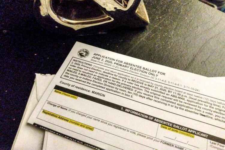 Indiana mail-in ballots must be returned to the county election administrator's office by noon on Election Day – this year, Nov. 3. (Lauren Chapman/IPB News)