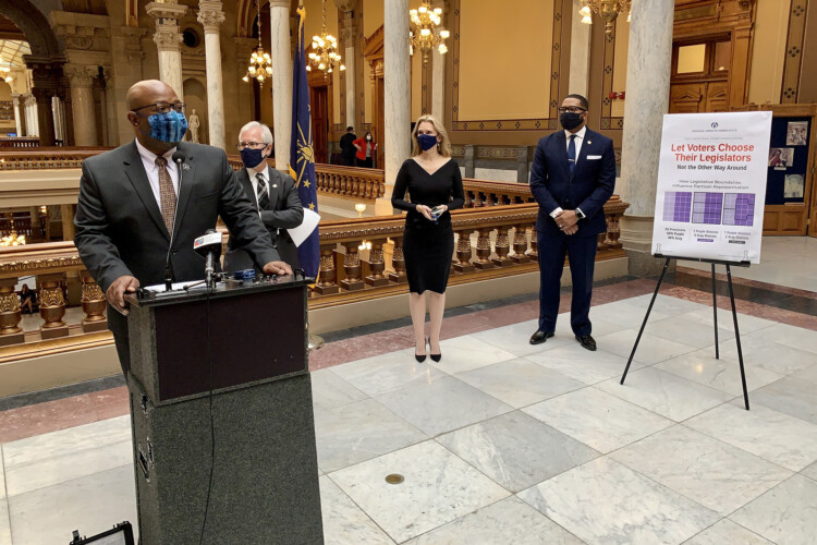 Members of the Indiana Senate Democratic Caucus discuss their call for redistricting reform. (Brandon Smith/IPB News)