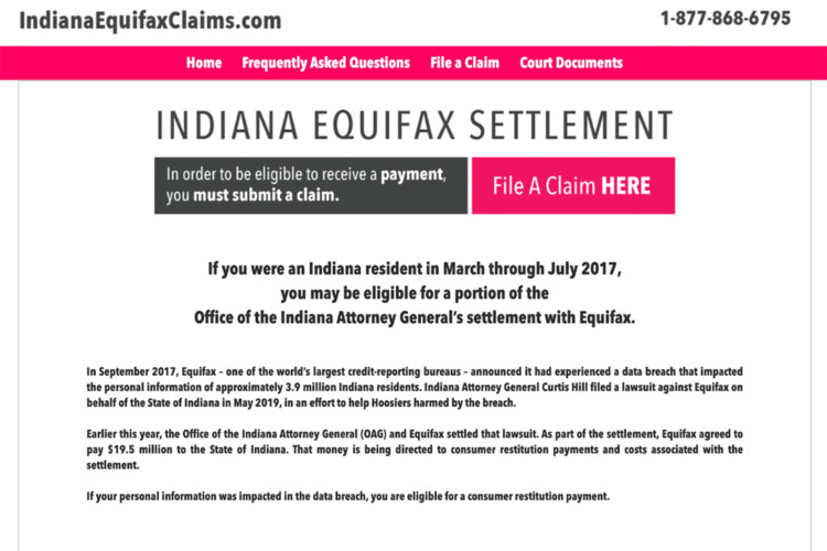 Hoosiers have until Dec. 16 to submit a claim at IndianaEquifaxClaims.com. (Screenshot of IndianaEquifaxClaims.com)
