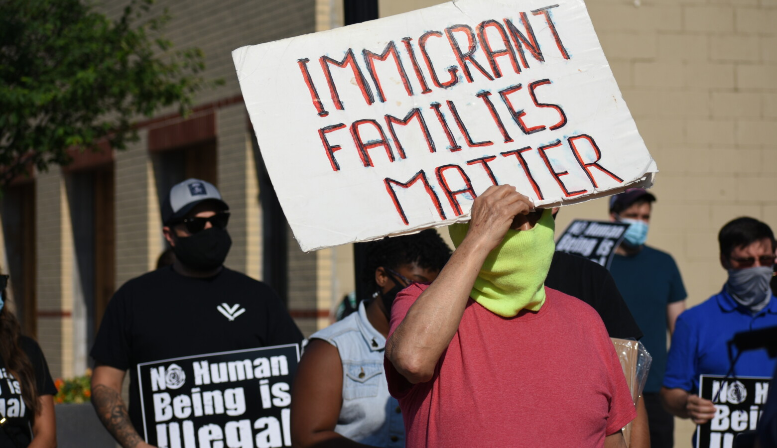 Activists march at a South Bend rally in June 2020 after the U.S. Supreme Court blocked a Trump administration attempt to end the Deferred Action for Childhood Arrivals (DACA) program. (Justin Hicks/IPB News)