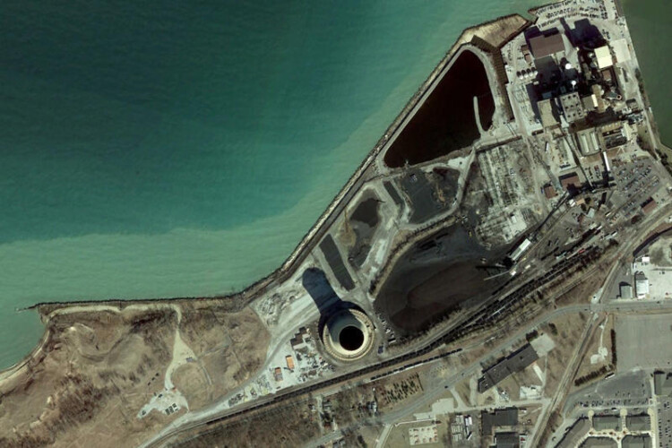 An aerial image of NIPSCO's Michigan City coal plant. (Courtesy of NIPSCO)