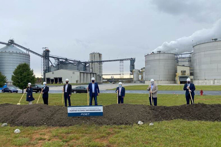 Officials break ground at POET Biorefining's Alexandria facility. The upgrades at the Indiana location will allow the company to produce ethanol that's FDA approved for hand sanitizer. (Courtesy of POET)