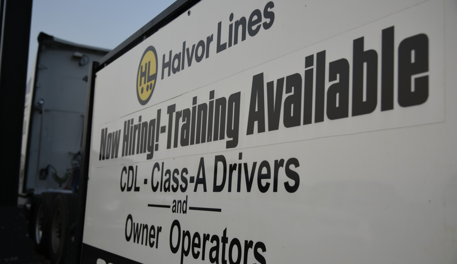 A trucking company in South Bend advertises training available to help new hires get CDL licenses. (Justin Hicks/IPB News)