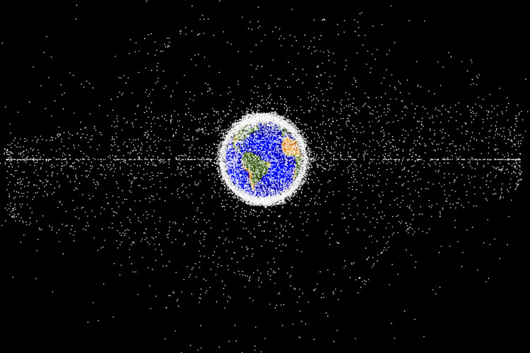Things like old satellites and booster rockets have put hundreds of millions of pieces of litter in Earth's orbital space. (Courtesy of NASA's Orbital Debris Program Office)