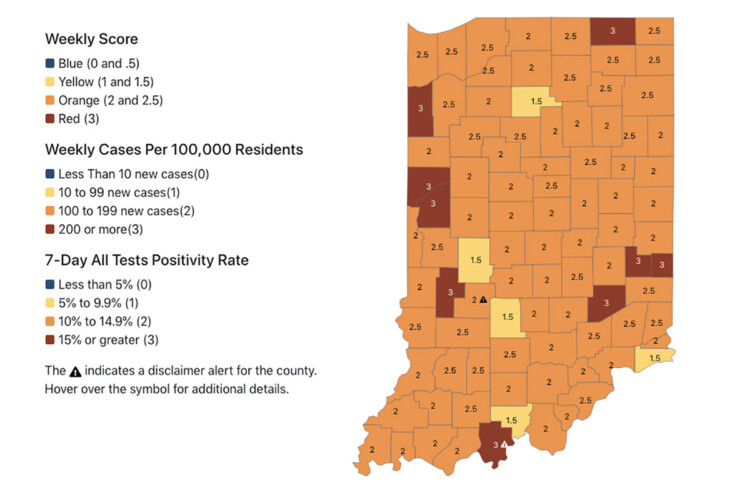 Almost all of Indiana's counties are now at risk of at least moderate to high spread of COVID-19. (Courtesy of the State Department of Health)