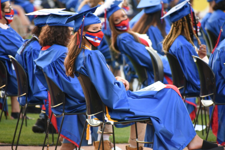 A high school graduation ceremony in South Bend, held outside due to COVID-19 safety precautions. (Justin Hicks/IPB News)