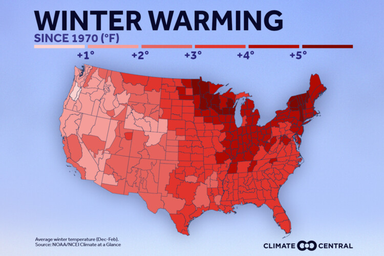 This map shows winter warming for 2020 in the U.S. (Courtesy of Climate Central)