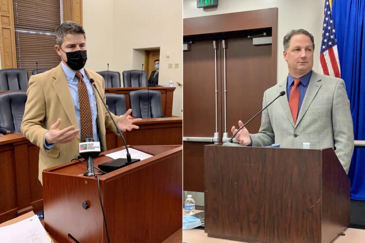 Senate President Pro Tem Rodric Bray (R-Martinsville), left, and House Speaker Todd Huston (R-Fishers), right, speak to reporters. (Brandon Smith/IPB News)
