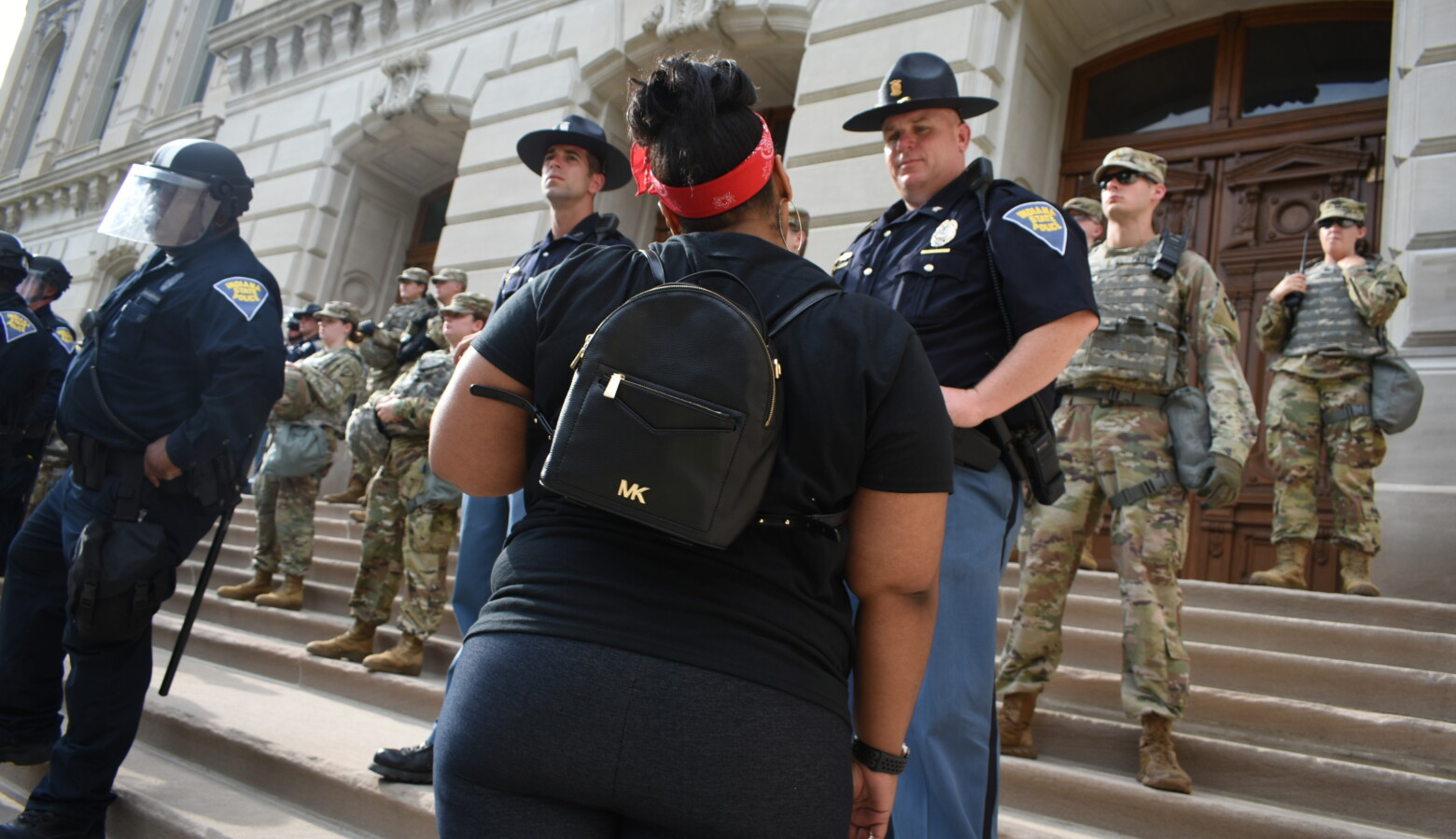 State Police troopers and Indiana National Guardsmen were stationed around the Indiana Statehouse during 2020 Black Lives Matter protests. (Justin Hicks/IPB News)