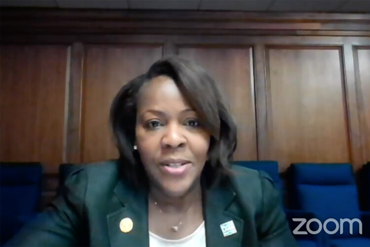 Indiana Black Legislative Caucus Chair Robin Shackleford (D-Indianapolis) discusses the caucus's justice reform agenda. (Screenshot of Zoom call)