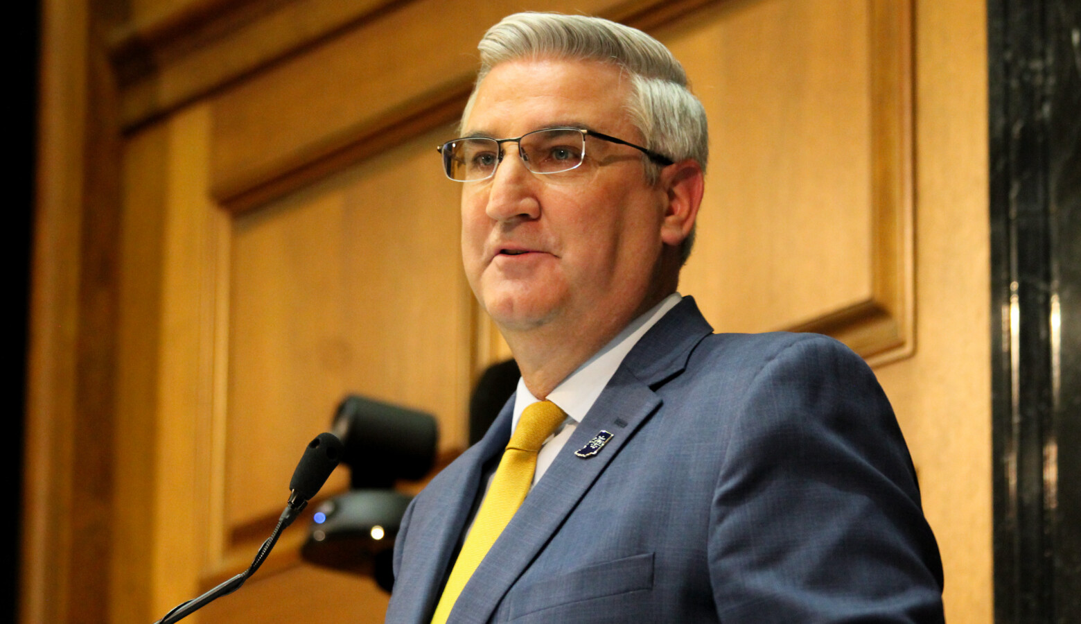Gov. Eric Holcomb vehemently disagreed with critics who argue his first term lacked bold action. (Lauren Chapman/IPB News)