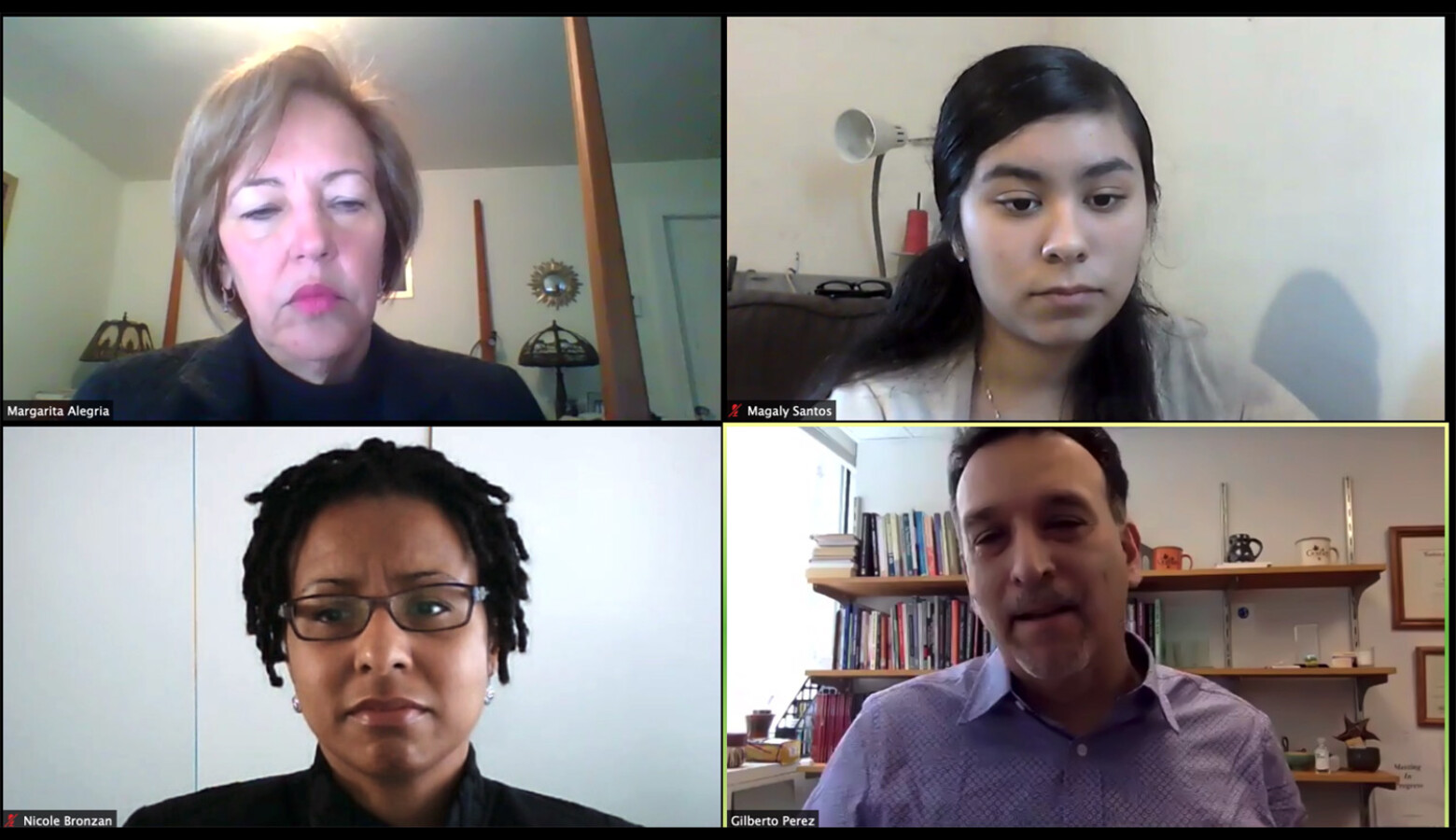 Dr. Margarita Alegría, Magaly Santos and Gilberto Pérez discuss the outsized effect of COVID-19 on Latinx mental health as part of a discussion hosted by the Robert Wood Johnson Foundation. (Screenshot Zoom)