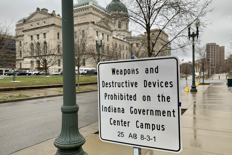 The Statehouse was quiet Sunday despite FBI warnings about armed protests at all 50 state capitols. (Brandon Smith/IPB News)