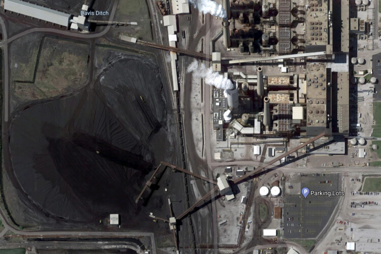 An aerial photo of the R.M. Schahfer Generating Station in Wheatfield. (Google Maps)