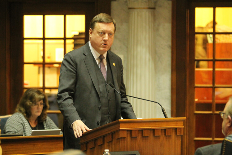 Sen. Eric Koch (R-Bedford) says the bill should be a win-win for the parties involved, but some lawmakers aren't sure ratepayers will benefit. (Lauren Chapman/IPB News)