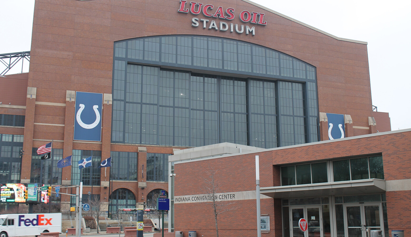 Lucas Oil Stadium is one of six sites the NCAA is using to host the 2021 Men's Division I Basketball Championship. The venue could have up to 17,500 people at a game based on the capacity limits. (Lauren Chapman/IPB News)