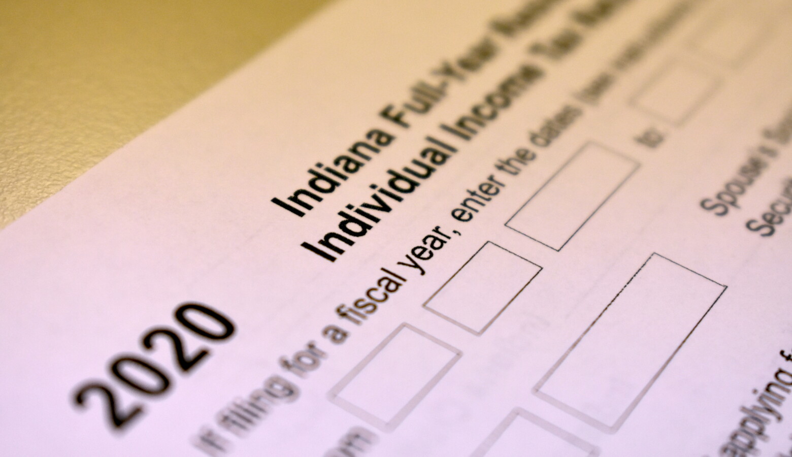 A 2020 income tax form for Indiana residents. (Justin Hicks/IPB News)