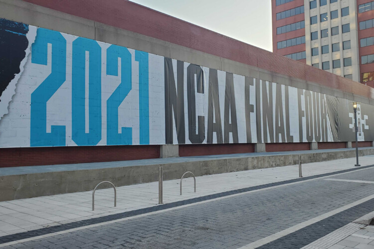 Signage for March Madness along Georgia Street ahead of the tournament. (Samantha Horton/IPB News)
