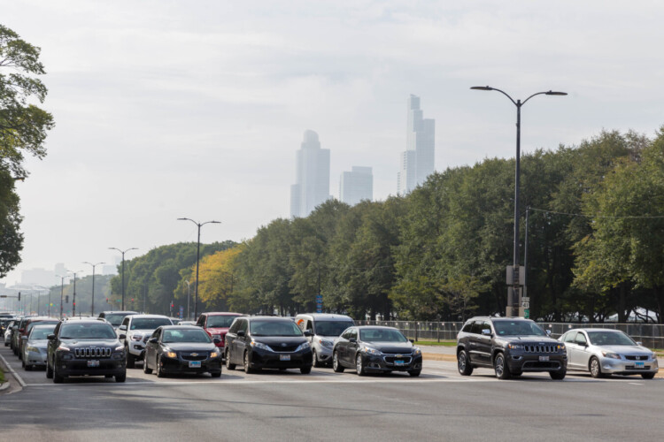 Chicago traffic at an intersection in 2019. IUPUI professor Gabriel Filippelli said the lack of cars on the road reduced carbon emissions during the Stay-At-Home orders last year. (Marco Verch/Flickr)