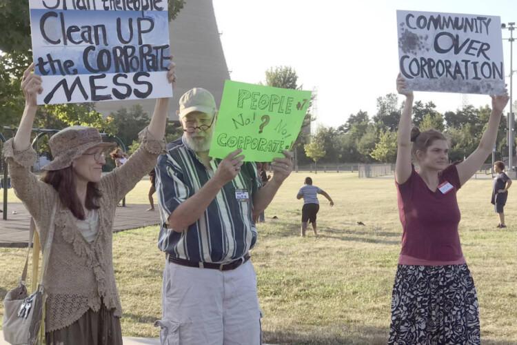 Protesters in Michigan City in 2019 rally against NIPSCO's rate increase. (FILE PHOTO: Annacaroline Caruso/WVPE)