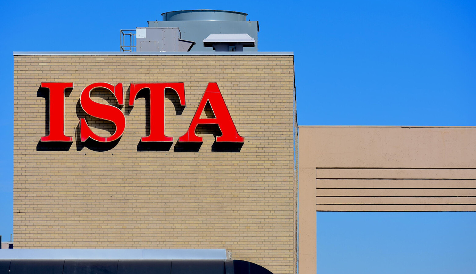 The Indiana State Teachers Association logo atop its headquarters in downtown Indianapolis. (Justin Hicks/IPB News)