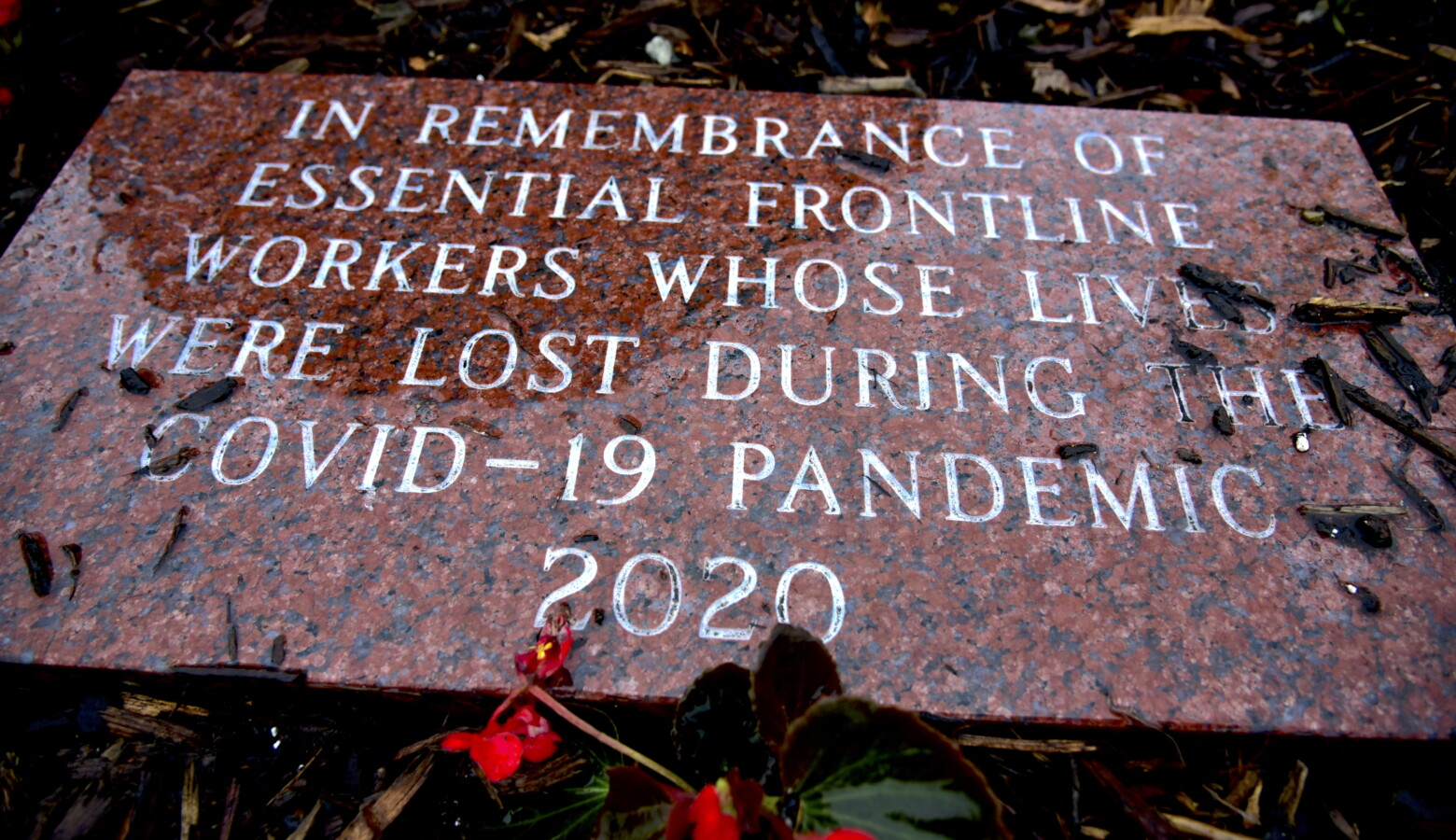 A memorial to essential workers who died in the pandemic was dedicated at Howard Park in South Bend. (Justin Hicks/IPB News)