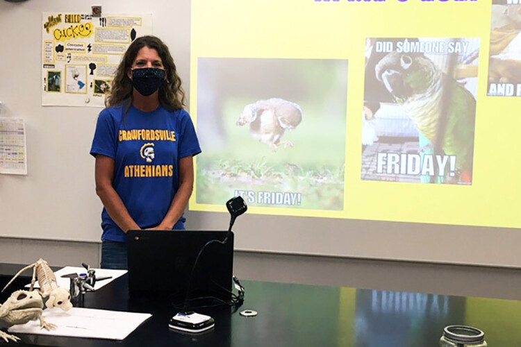 Crawfordsville science teacher Jenny Veatch says it was difficult adjusting her teaching style when students returned to school, but took precautions so she could stay in the classroom. (Provided by Jenny Veatch)