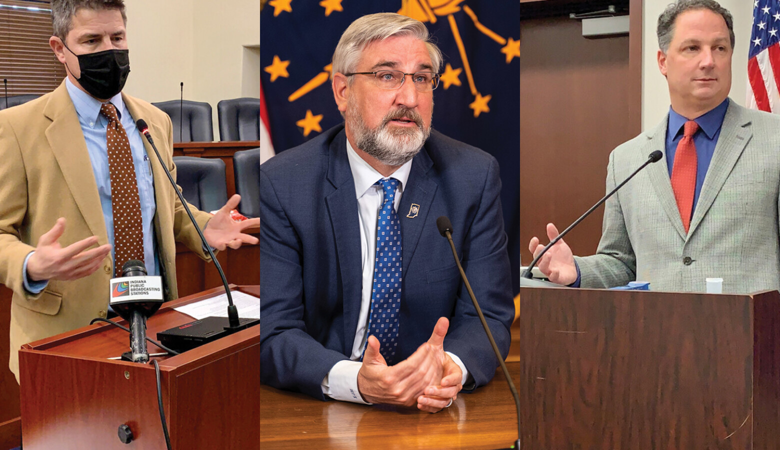 House Speaker Todd Huston (R-Fishers), right, said he and Senate President Pro Tem Rodric Bray (R-Martinsville), left, don't agree with Gov. Eric Holcomb, center, over the constitutionality of a bill allowing lawmakers to call a special session. (Brandon