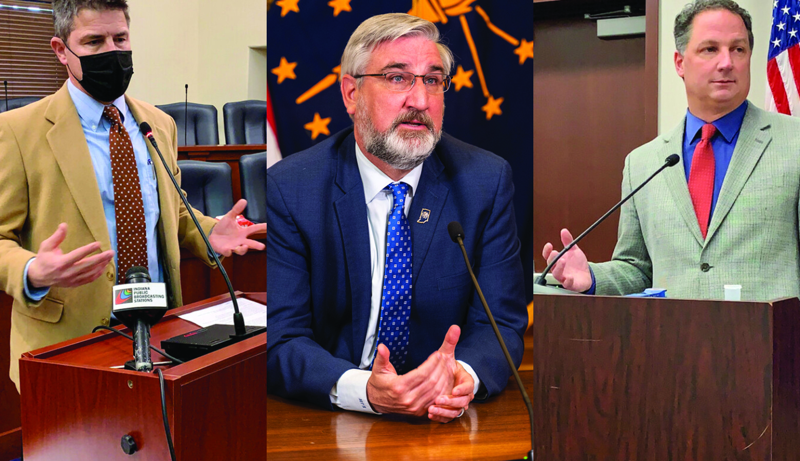 Gov. Eric Holcomb, center, sued the Indiana General Assembly, led by Senate President Pro Tem Rodric Bray (R-Martinsville), left and House Speaker Todd Huston (R-Fishers), right, over an emergency powers law. (Brandon Smith/IPB News and courtesy of the go