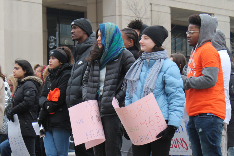 Members of the student-led group We Live Indy gathered at the Statehouse on Saturday March 2, 2019, calling for action on universal background checks. (FILE PHOTO: Lauren Chapman/IPB News)