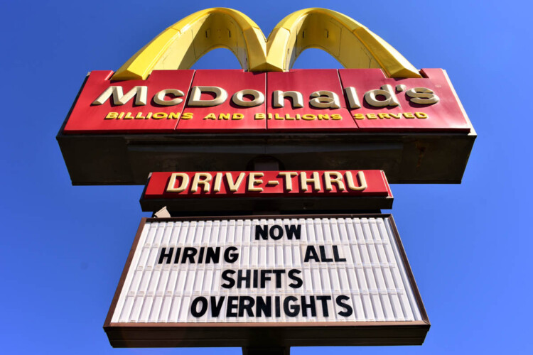 A McDonald's in South Bend advertising that it's hiring for jobs. (Justin Hicks/IPB News)