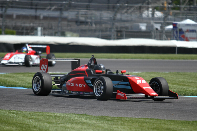 Force Indy driver Myles Rowe competes in the No. 99 car at the Indianapolis Motor Speedway. (Doug Jaggers/WFYI)