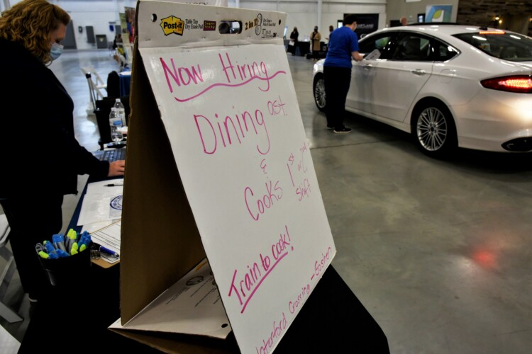 A drive-thru job fair in Elkhart to connect out of work Hoosiers with companies looking to hire employees. (Justin Hicks/IPB News)
