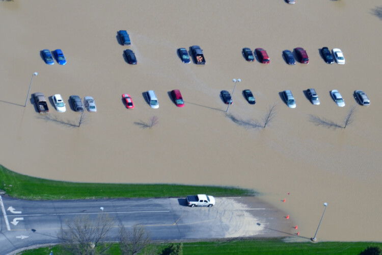 Parked cars in Tipton during the flood of 2013. (Courtesy of Tipton County)