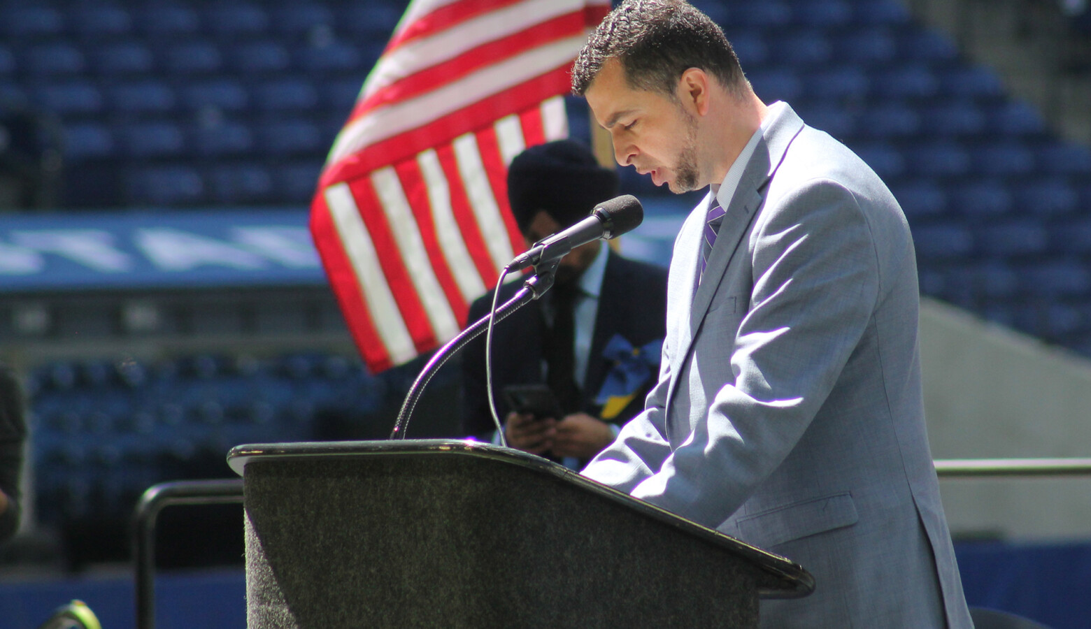 Sen. Fady Qaddoura (D-Indianapolis) spoke at the memorial on Saturday, May 1, calling directly for gun reform and investment in mental health. (Lauren Chapman/IPB News)