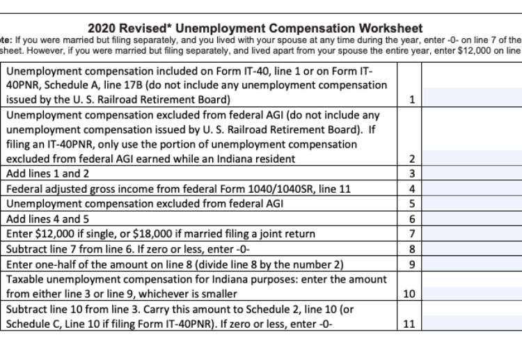 The Indiana Department of Revenue has created a new worksheet for Hoosiers with 2020 unemployment benefits to use. (Screenshot in.gov/dor/)