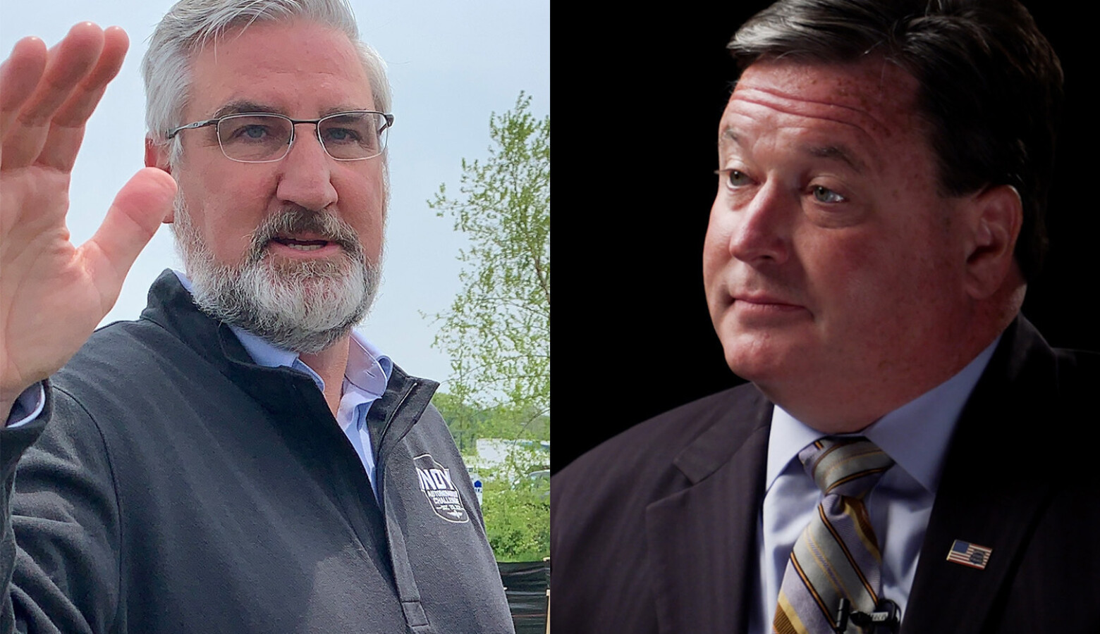Attorneys for Gov. Eric Holcomb, left, and Attorney General Todd Rokita, right, faced off in county court over a lawsuit challenging a new emergency powers law. (Brandon Smith/IPB News, Alan Mbathi/IPB News)
