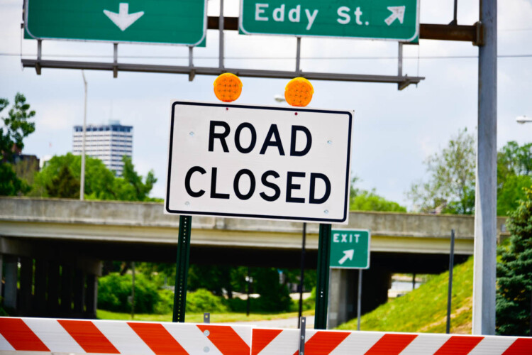 A sign at the head of a highway construction site near South Bend, Indiana. (Justin Hicks/IPB News)