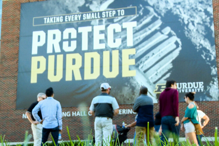 Prospective candidates for Purdue's remote worker program take a tour of the campus. It's the first remote worker incentive to launch in Indiana. (Justin Hicks/IPB News)